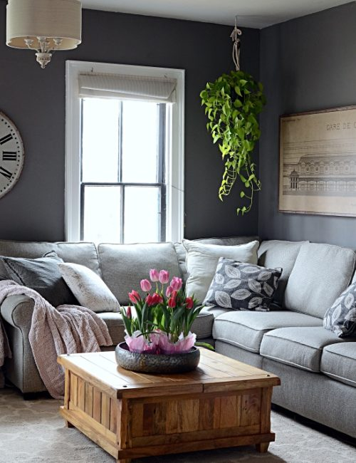 Spring Decorating Home Tour - Tulips in Family Room