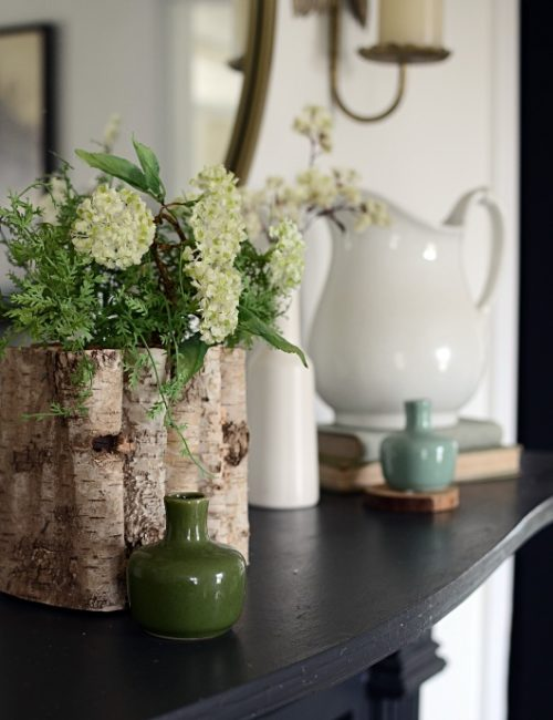 Black Mantel with Spring Decor