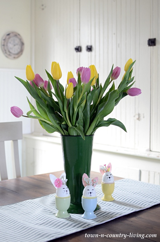 Pink and Yellow Tulips in Green Enamelware Vase