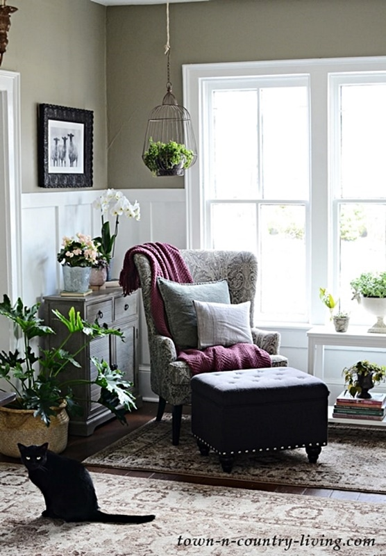 Spring Entryway with Gray Wing Chair