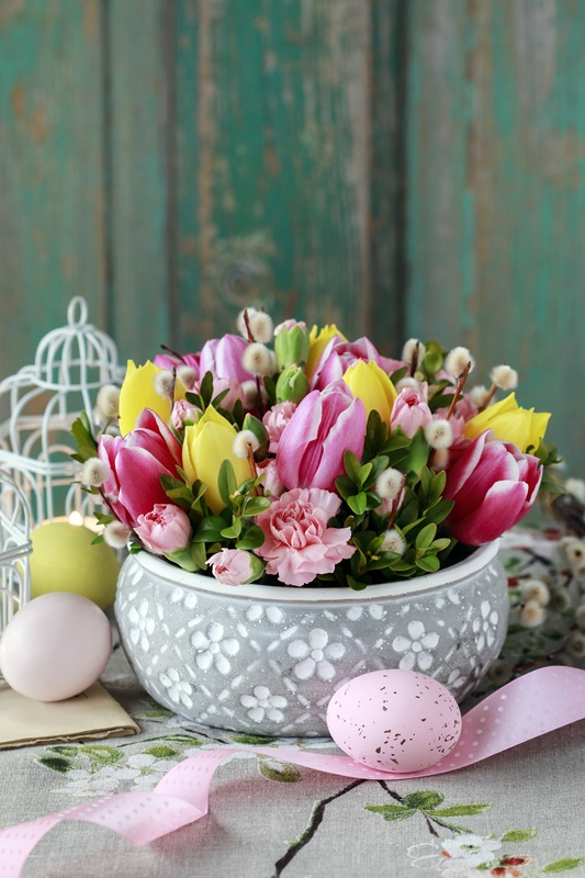 Spring Flower Arrangement with Pink and Yellow Tulips and Pink Carnations