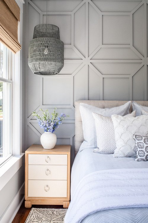 Soft Gray Master Bedroom with Custom Accent Wall