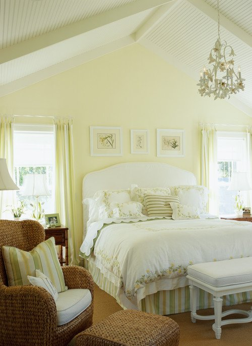 Feminine yellow bedroom in shabby chic style