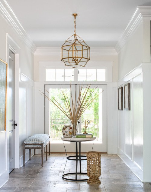 Beach Style Entryway with Double Doors
