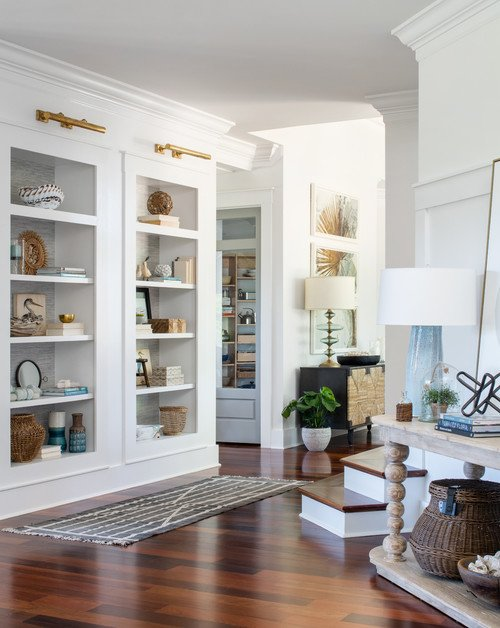 Custom Hallway with Built-In Cabinets with Glass Front Doors