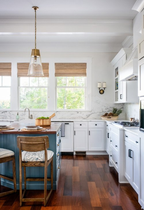 White Traditional Kitchen with Blue Center Island