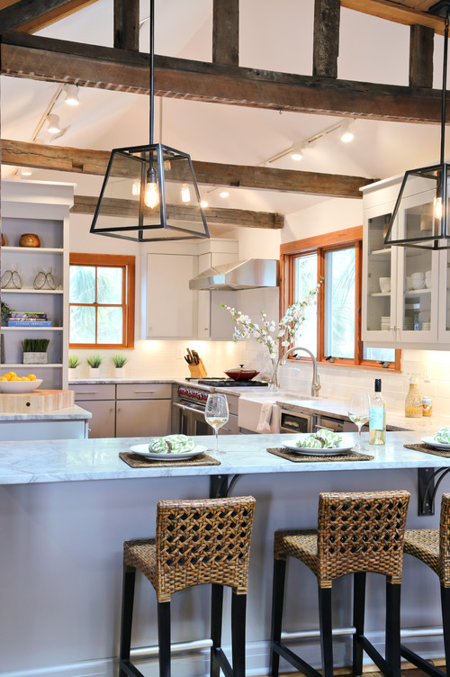 Beach Style Kitchen with Wood Beam Ceiling