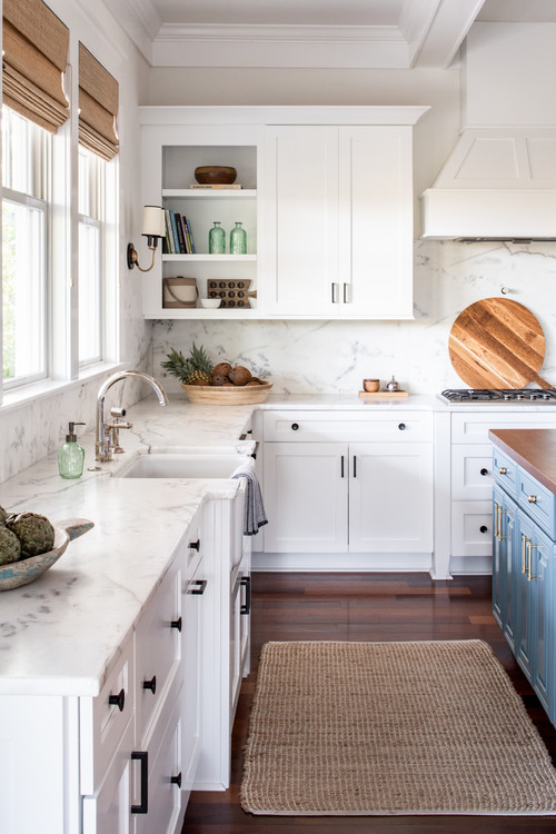 Gorgeous Traditional White Kitchen with Rich Wood Floor