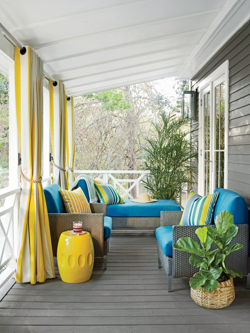 Bright Blue and Yellow Decor on Front Porch