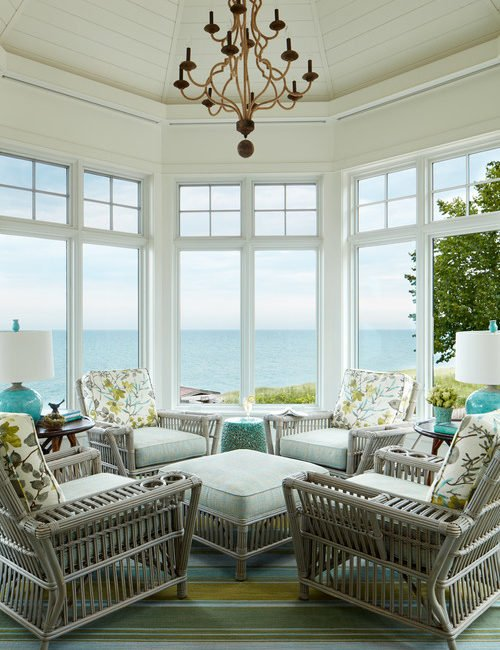 Beach Style Sun Room with View of the Ocean