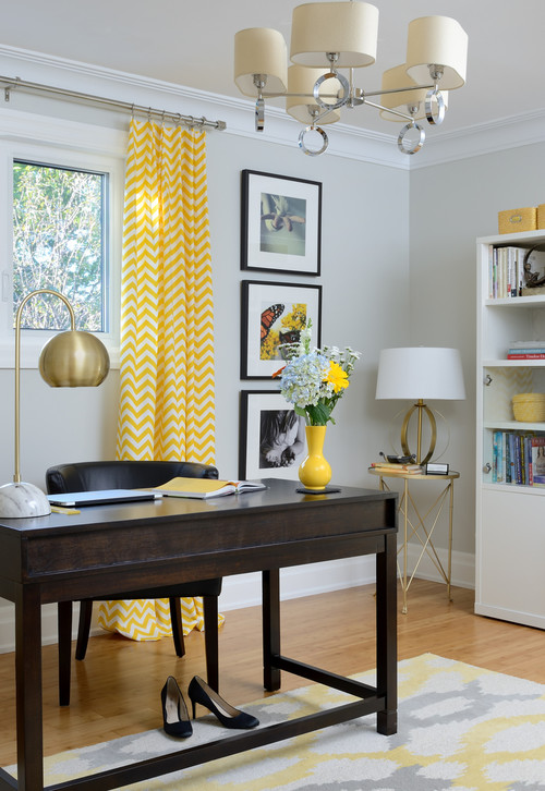 Cheery Yellow Accents in a Home Office