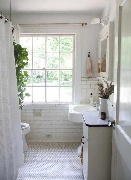 Subway Tile and Penny Tile in 1920s Bathroom