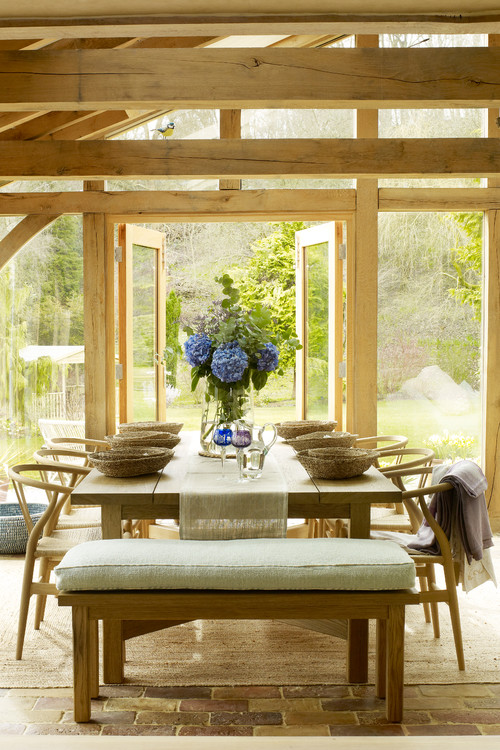 Organic and Natural Style Dining Room with a Forested View
