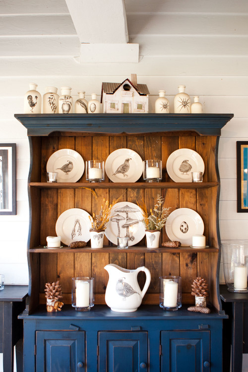 Nature Inspired Pottery Displayed in a Vintage Kitchen Hutch
