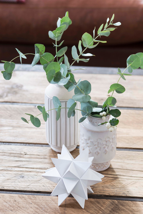 Fresh Eucalyptus in White Vases