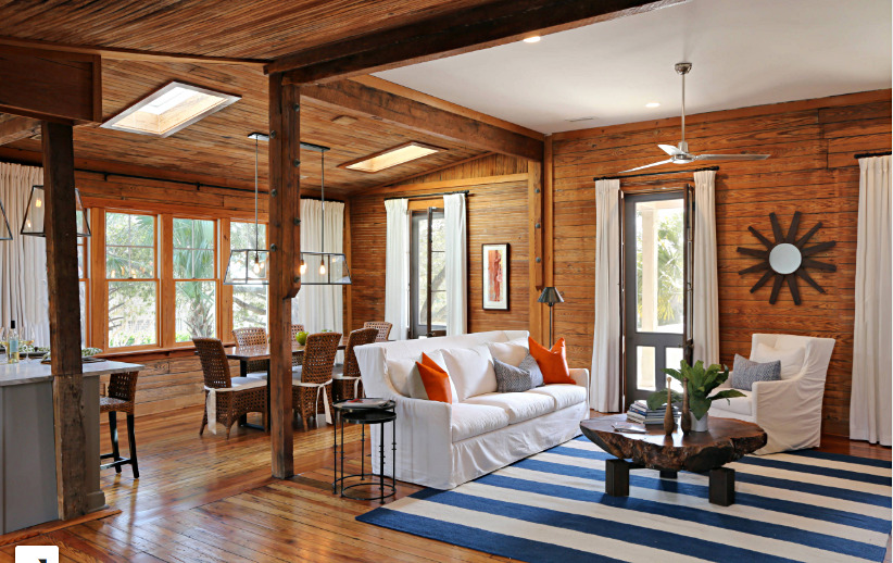 Beach Style Living Room in Rustic Cottage