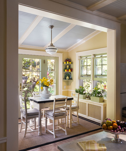 Charming Cottage Style Breakfast Nook in the Color Yellow