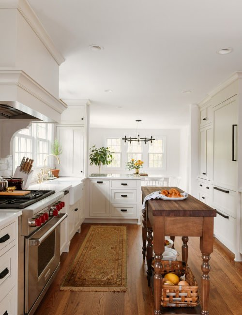 Traditional White Kitchen with Center Island