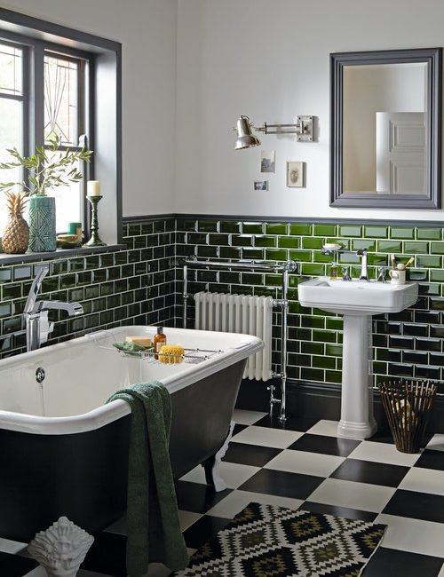 Victorian Style Bathroom with Green Subway Tile and Checkerboard Floor