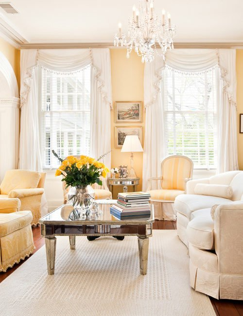 Pale Yellow Victorian Style Living Room