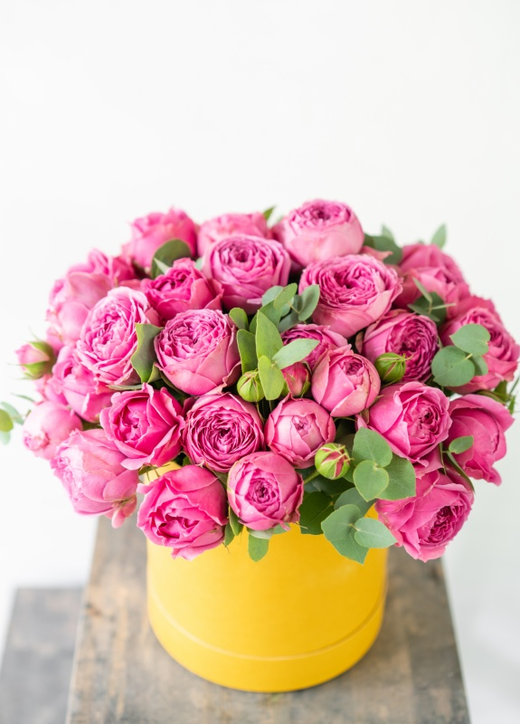 Massive Pink Bouquet in Sunny Yellow Container