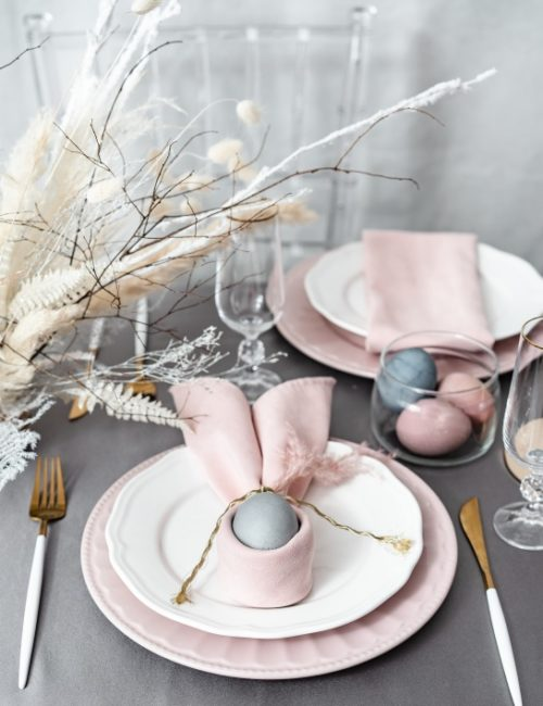 Pink and Gray Easter Holiday Table Setting
