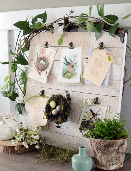 Spring Nature Board with Vintage Bird Prints