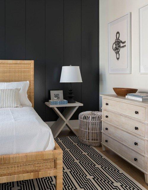 Dark Accent Wall in Coastal Style Bedroom