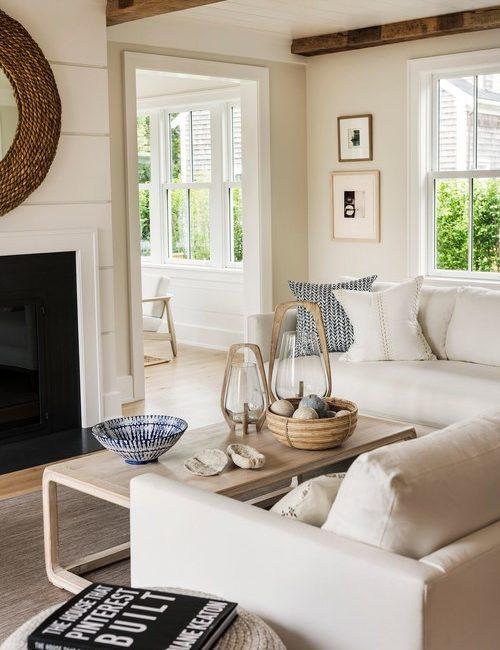Coastal Style Living Room in Beige Tones