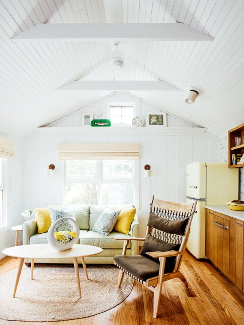 Bright and Cheery Tiny House Living Room