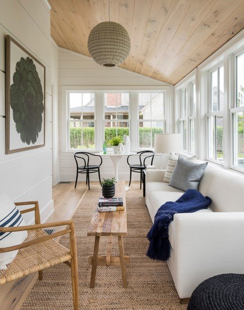 Four Season Porch with Vaulted Wood Ceiling