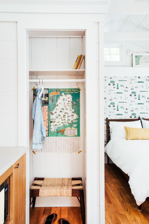 Mid Century Style Bedroom in Tiny House