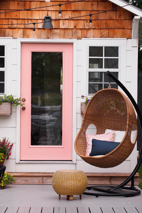 She Shed with Courtyard Deck and Basket Swing