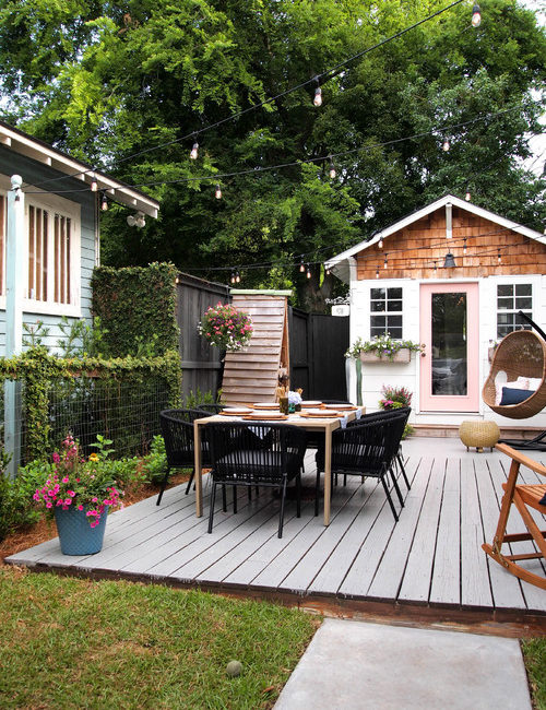 Adorable She Shed and Courtyard Deck