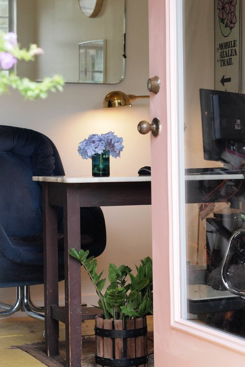 Office inside She Shed