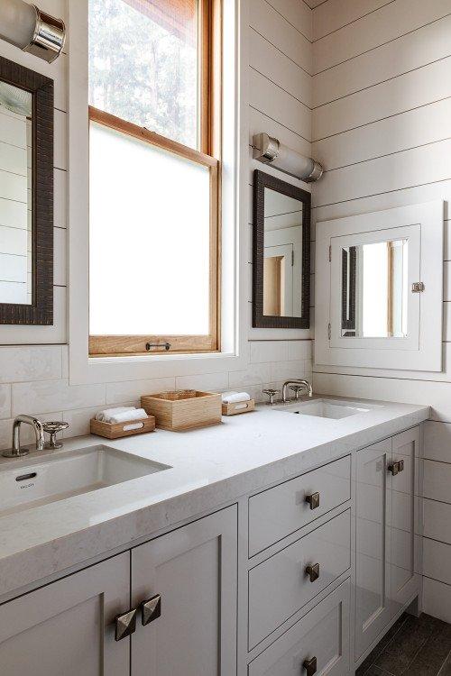 White Rustic Bathroom with Double Vanity