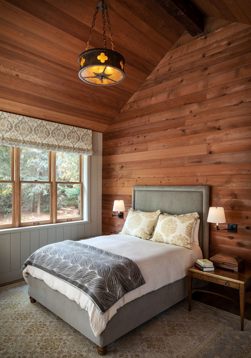 Paneled Bedroom with Vaulted Ceiling