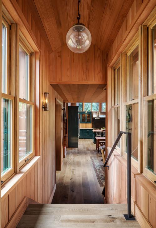 Honey Wood Paneling in Cabin Hallway