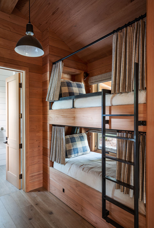 Rustic Bunk Bed with Curtains