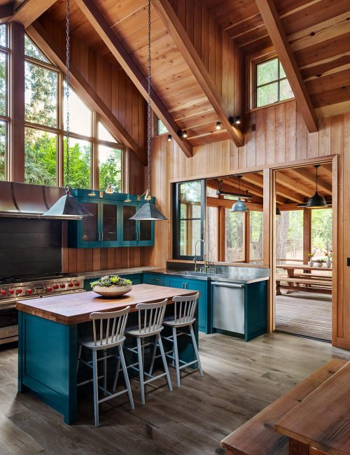 Rustic Cabin Kitchen with Blue Cabinets and Vaulted Ceiling
