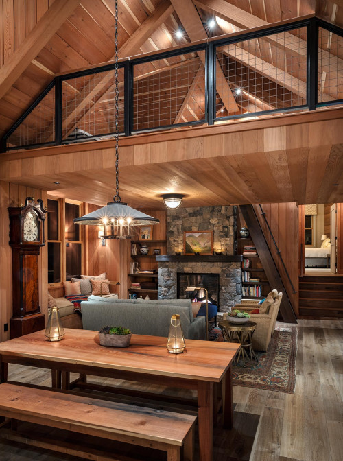 Rustic Cabin Living Room with Loft