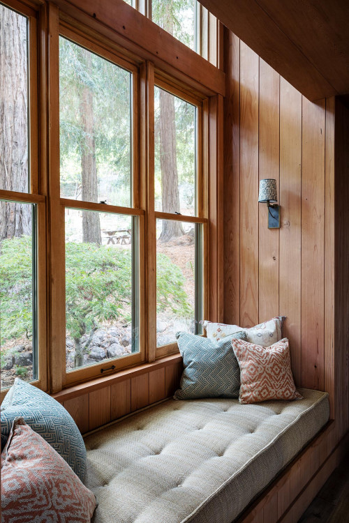 Rustic Window Seat with View of the Woods
