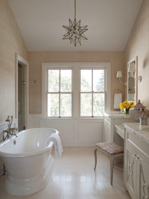 Neutral Tone Bathroom with Freestanding Bathtub