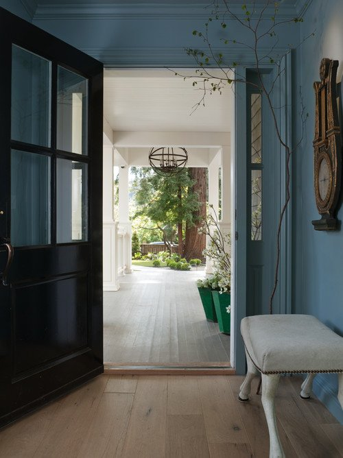 Blue entryway hall with large windowed door