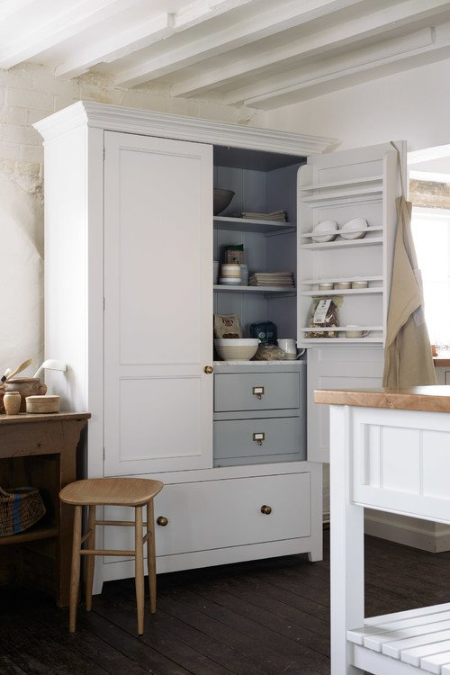 Old Fashioned Kitchen Armoire with Plenty of Storage