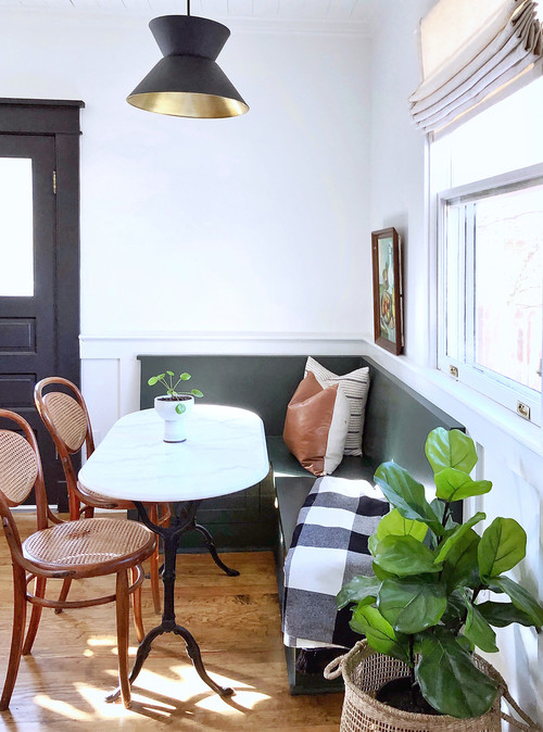 Vintage Breakfast Nook with Banquette in Craftsman Style Home