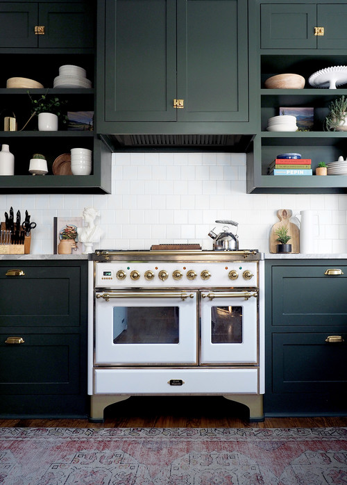 Vintage Stove and Dark Green Cabinets in Vintage Kitchen
