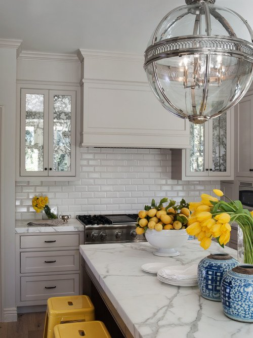 Classic Cottage Kitchen with Subway Tile and Custom Cabinets