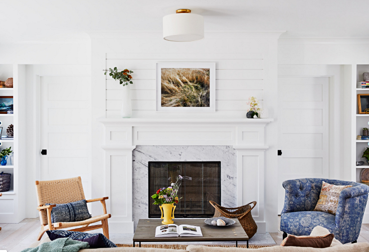 Beach Style Living Room with White Fireplace and Furniture Grouping