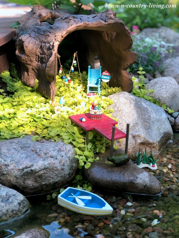 Fairy Garden Next to a Backyard Pond